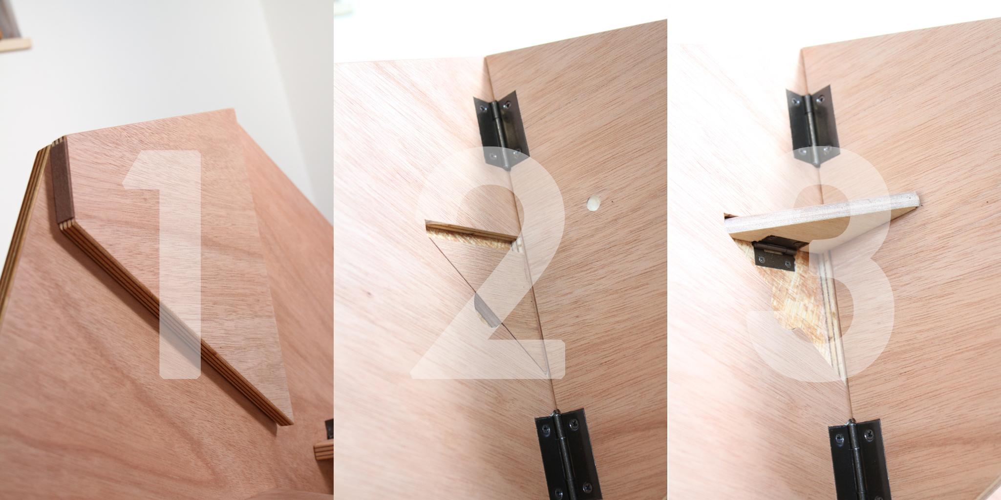 埼玉県所沢市の木のおもちゃとオーダー家具の制作をしている家具工房okaikosanの子どもの折りたたみのちゃぶ台の折りたたみの構造の画像